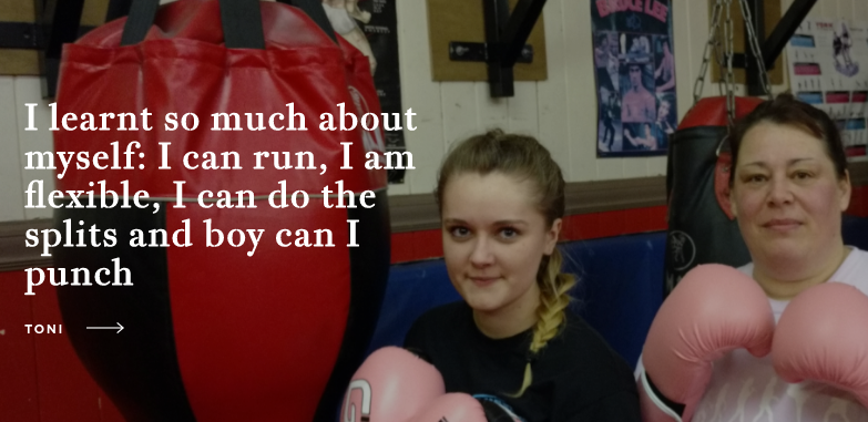 Young girl posed with boxing gloves for #ThisGirlCan campaign