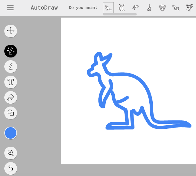 AutoDraw drawing of a kangaroo