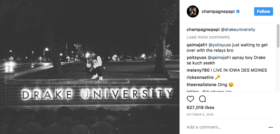 Drake the Rapper (champagnepapi) takes a photo at Drake University #BringDrakeToDrake