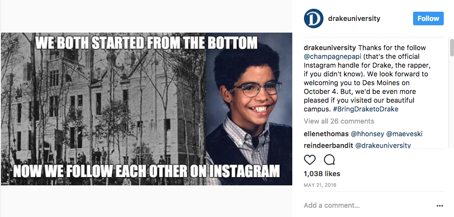 Drake University and Drake the Rapper (Champagnepapi) start a conversation aboout #BringDrakeToDrake