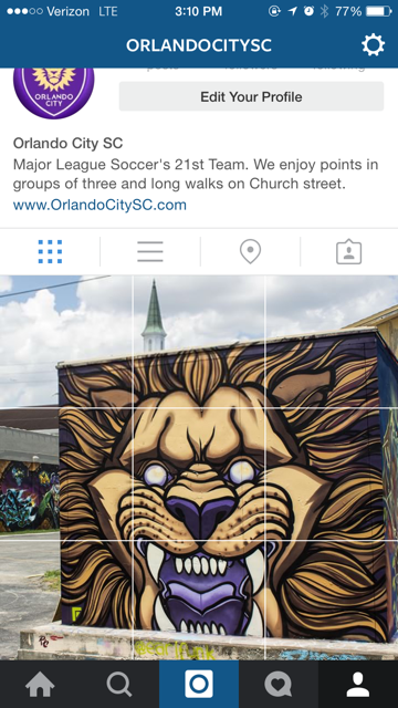Orlando City SC's Instagram feed screenshot of their #PurpleFriday scavenger hunt campaign