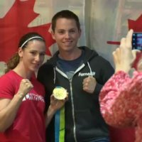 Mandy Bujold met with boxing fans at tech company Mad Hatter Technology.
