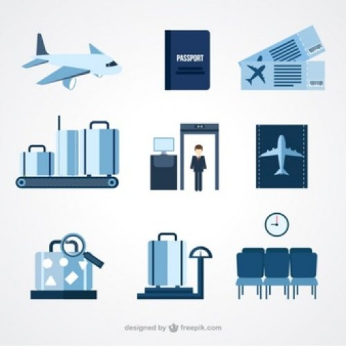 Airport icons in blue for marketing campaign