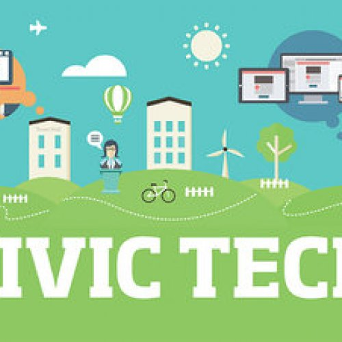 Civic technology graphic showing responsive design and development for community engagement