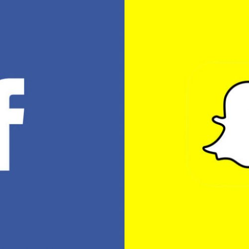 Facebook logo, snapchat logo side by side